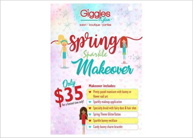 Giggles Spring Sparkle Makeover Flyers