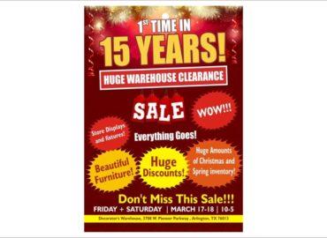 Huge Warehouse Clearance Flyers