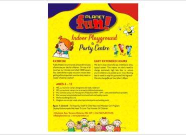Planet Fun Indoor Playground Flyers